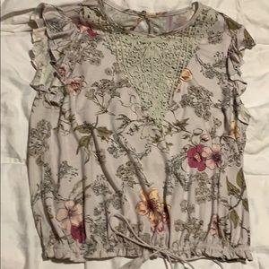 Floral shirt, lace front